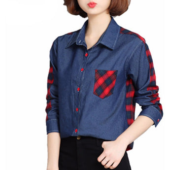 WEST NINETIES LUXE Loose Patchwork Denim Blouse