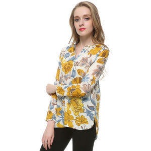 WEST NINETIES LUXE V-Neck Floral Chiffon Blouse