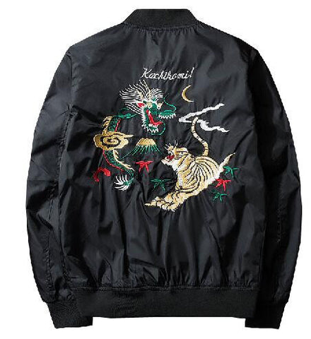 WEST NINETIES Tiger Embroidery Bomber Jacket