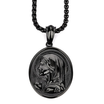 Black Virgin Mary Pendant w/ Chain