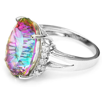 Natural Rianbow Sterling Silver Topaz Ring