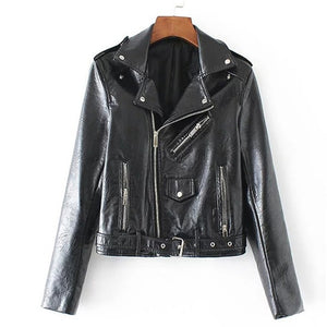 Designer Women's Biker Leather Jacket by Aonibeier