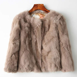 ETHEL ANDERSON Real Rabbit Fur Designer Jacket