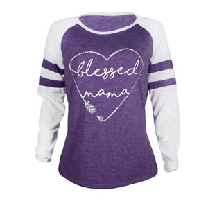 'Blessed Mama' Long Sleeve Vintage Top for Women