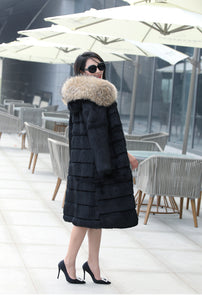 Genuine Rabbit Fur Fashion Long Coat