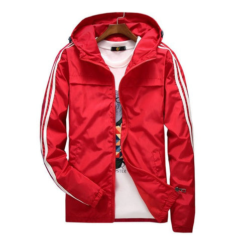 Men Thin Striped Windbreaker Hooded Jacket
