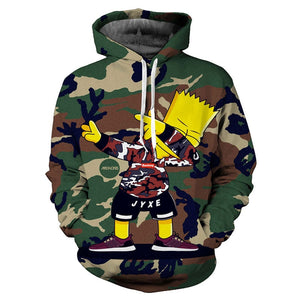 Bart Simpson Gives Dap Camouflage Hoodie