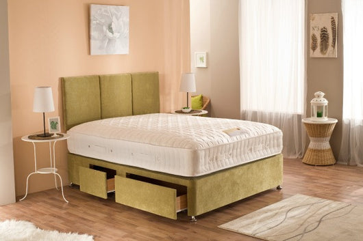 moonraker baroness 3800 superior mattress pictured on a plain gold bed
