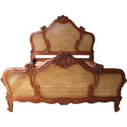 Intricate carved french rattan bed mahogany finish  solid sleigh style bed