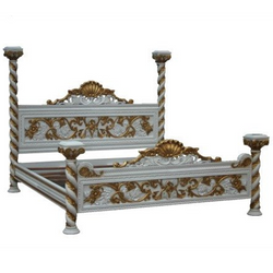 stunning hand carved venetian four poster bed with fine detail finished in white and gold