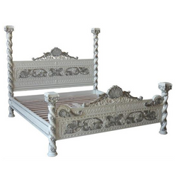 finely detailed luxury four poster bed - white and silver venetian style