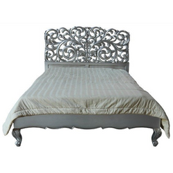 luxury la rochelle french style rococo bed in real silver leaf low footboard