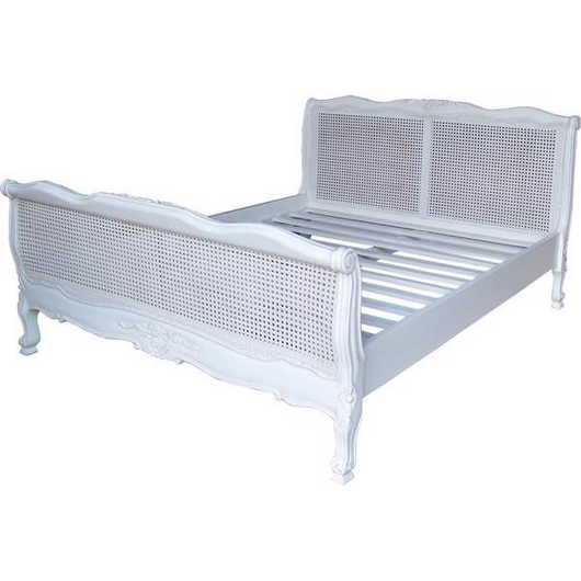 Louis Cane french rattan bed luxury in antique white