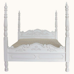 gothic style four poster without canopy in antique white finish