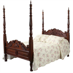 Luxury Four Poster Colonial Bed - Solid Mahogany - No Canopy