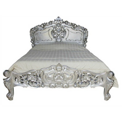 luxury french rococo bed with intricately carved detail, finished with real silver leaf