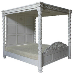 Janna four poster bed - spiraling pattern on all four posts leading up to the canopy. intricately carved with full head board antique white finish