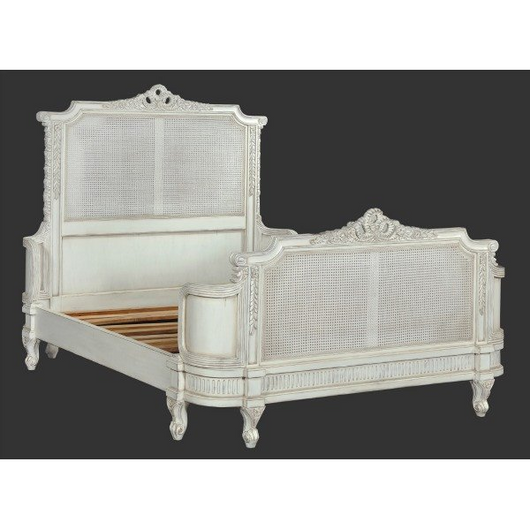 luxury french antoinette rattan bed in white