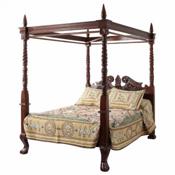 fantastic queen anne style four poster bed with pillars on top carved from solid mahogany pictured here with sheets