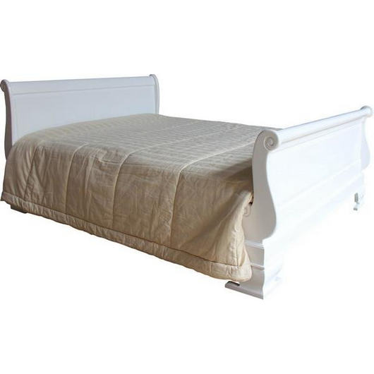 plain solid mahogany sleigh bed with sheets in white fabulous