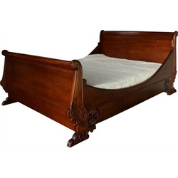 Luxurious solid mahogany sleigh bed with beautiful hand carvings