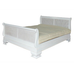 Traditional Rattan Sleigh Bed - Solid Mahogany - White Finish