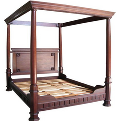 Plain tudor style four poster canopy bed solid mahogany