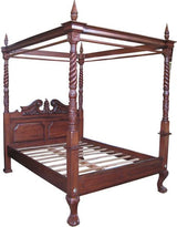 solid mahogany queen anne style four poster canopy bed frame