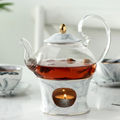 Glass Tea Set with Marble Pattern