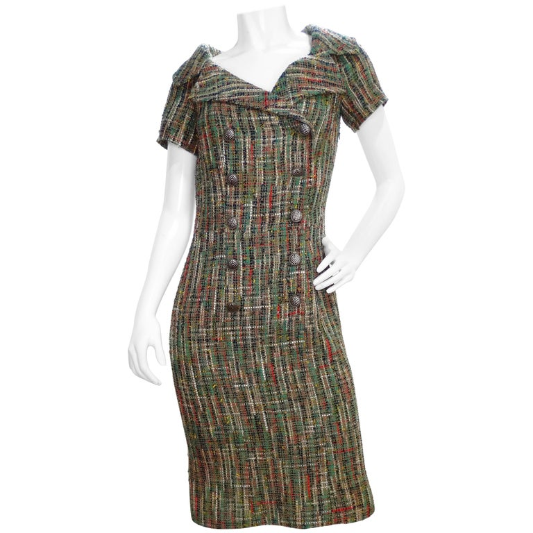 Chanel Paris-Cuba Olive Green Tweed Dress