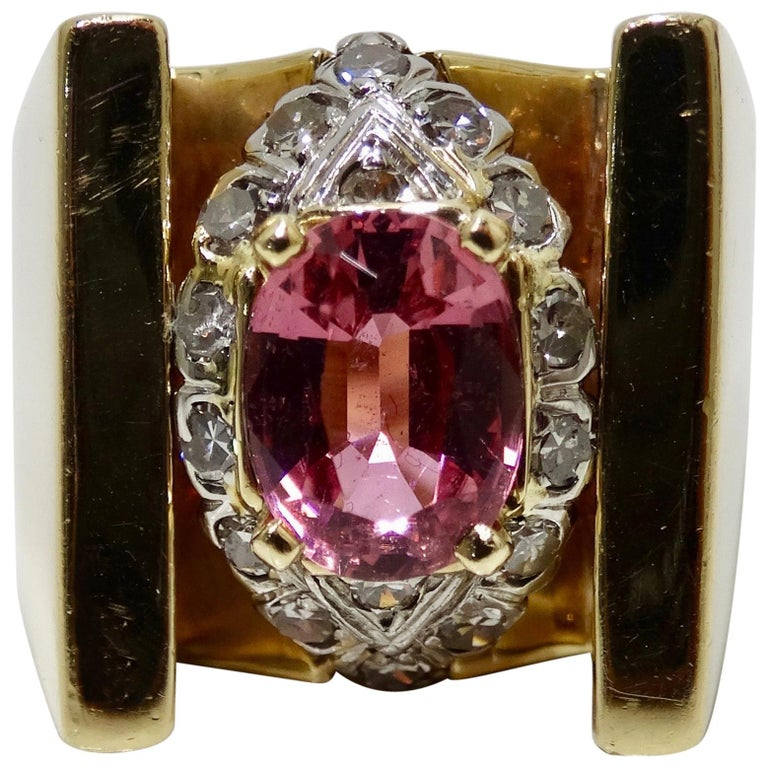 Pink Sapphire & Diamond Cocktail Ring