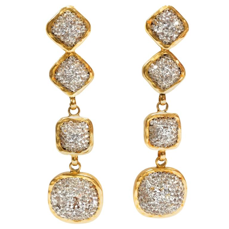 1990s Deanna Hamro Diamanté Swarovski Drop Earrings