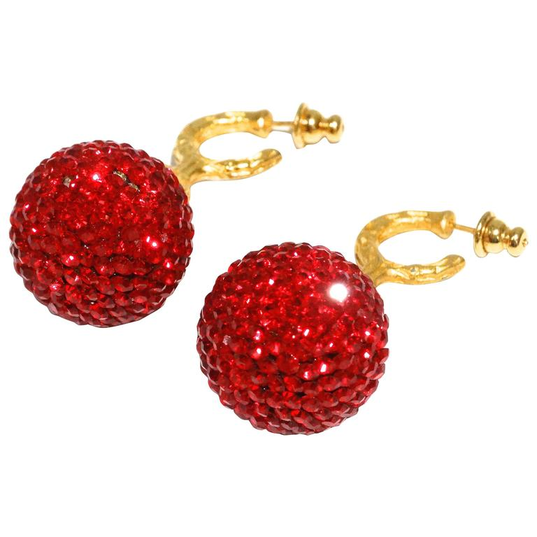 1990s Deanna Hamro Ruby Red Diamante Swarovski Crystal Ball Earrings
