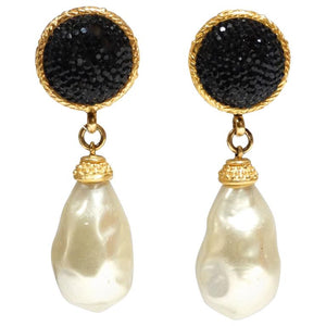 1990s Deanna Hamro Black Crystal Diamente Gold Tone Earrings