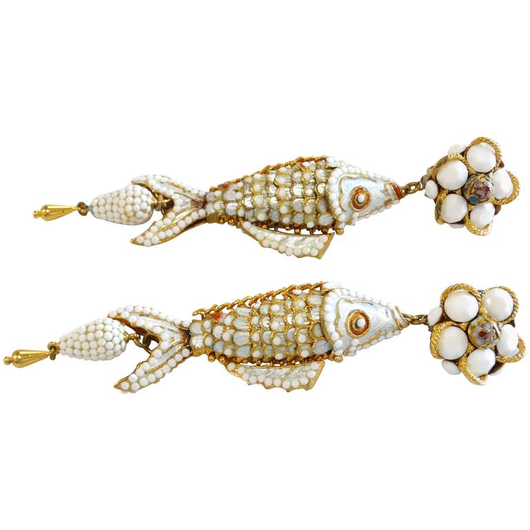 1970s Asian Carp Cloisonné Gold Filigree with White Rhinestone Earrings