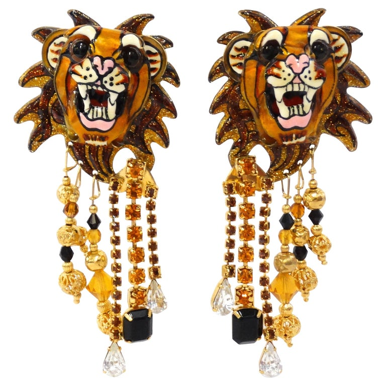 "1990s Lunch at the Ritz ""Lion"" Earrings"