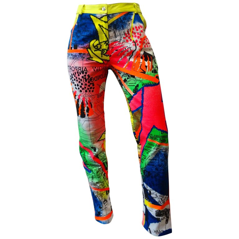 1990s Christian Dior Neon Graffiti Pants