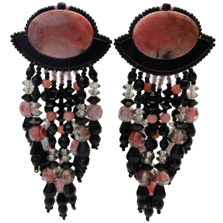1980s Western Inspired Black & Pink Marble Dangle Earrings
