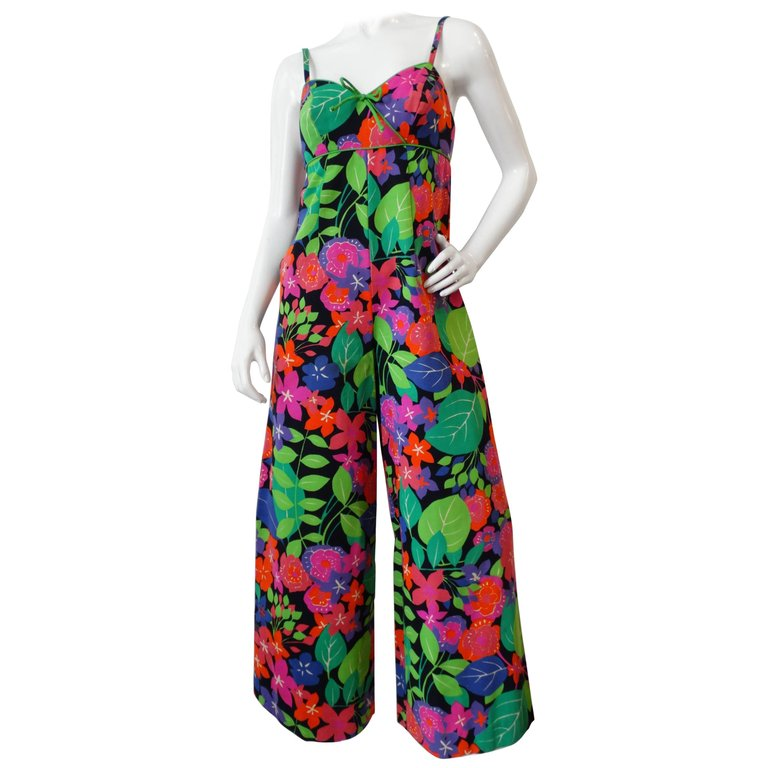 d11718479e15 1994 Gianni Versace Couture Safety Pin Short Dress Jumpsuit. $1,200.00.  1960s Technicolor Floral Wide Leg Jumpsuit
