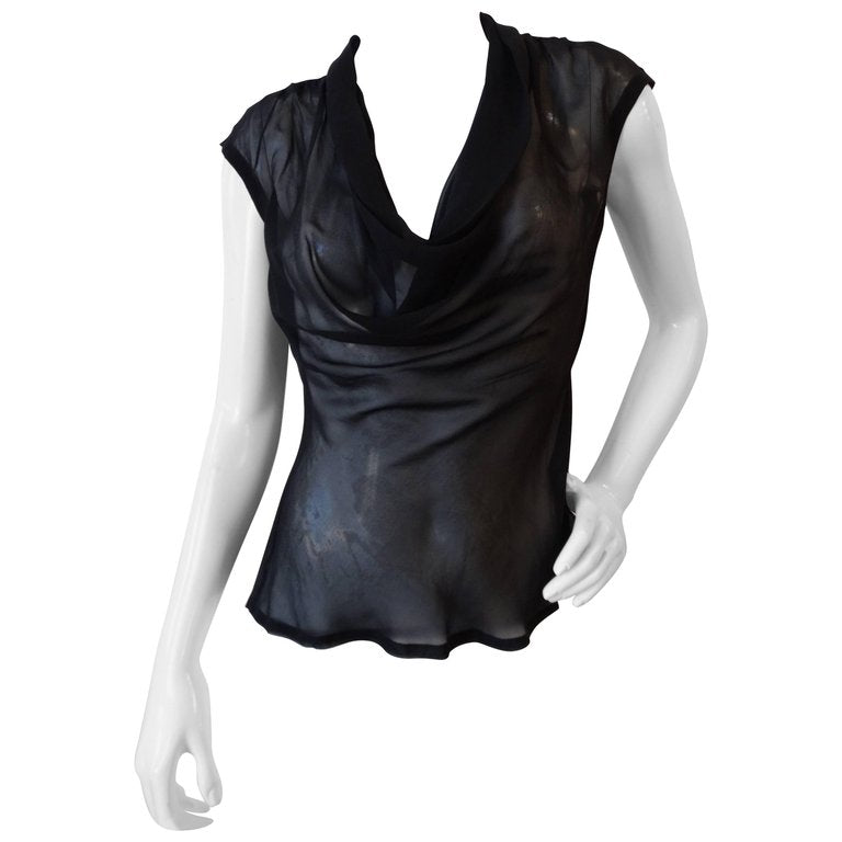 1990s Yves Saint Laurent Cowl Neck Sheer Top