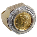 Vintage 22K Fine Gold 1852 Liberty Head Ring