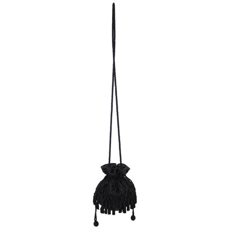 1980s Lord & Taylor Black Satin Tassel Drawstring Purse Crossbody Shoulder Bag