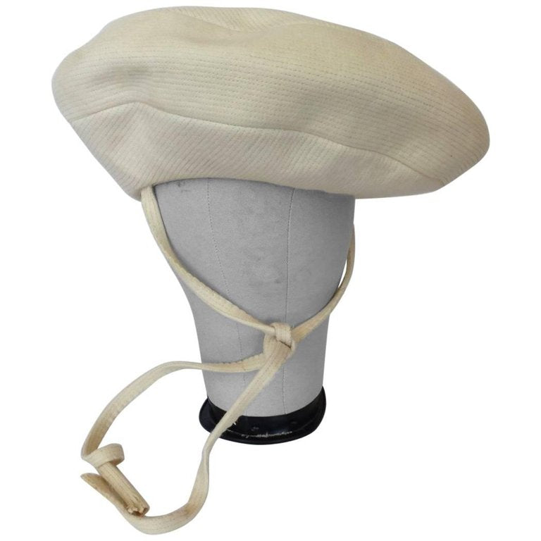 1960s Yves Saint Laurent Mod Cream Wool Saucer Tam Hat