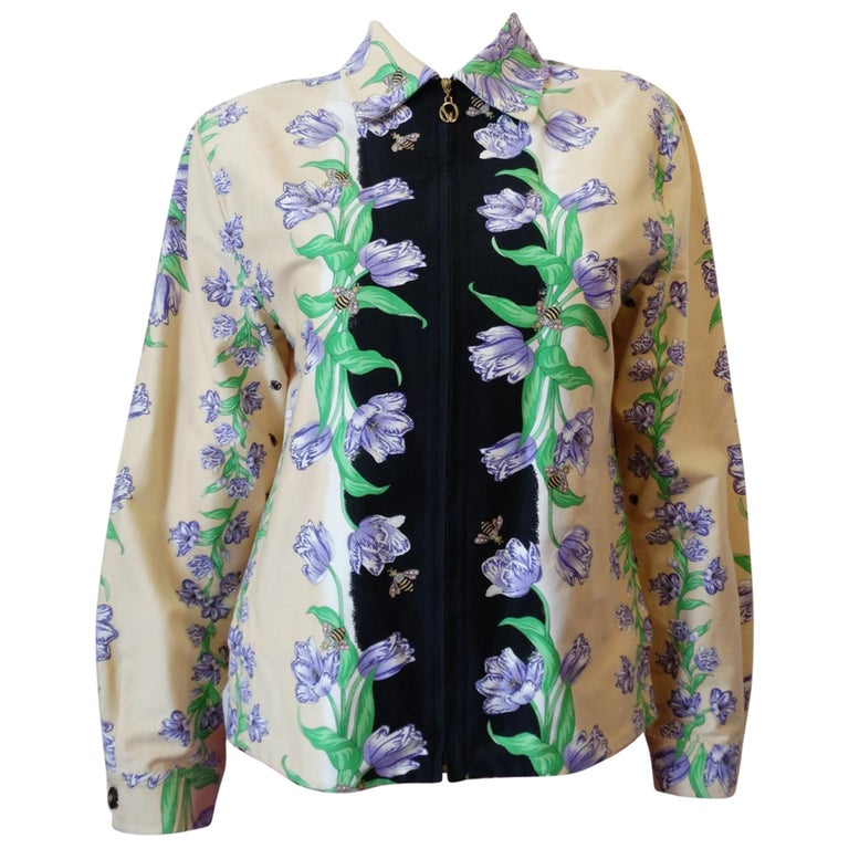 St. John 80s Sport Floral Zip Up Jacket