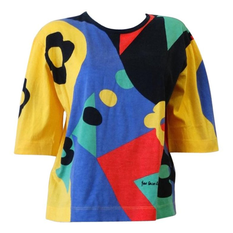1990s Yves Saint Laurent Abstract Color Block T-Shirt