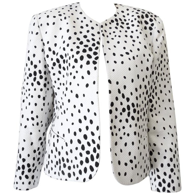 1980s Christian Dior Quilted Polka Dot Blazer