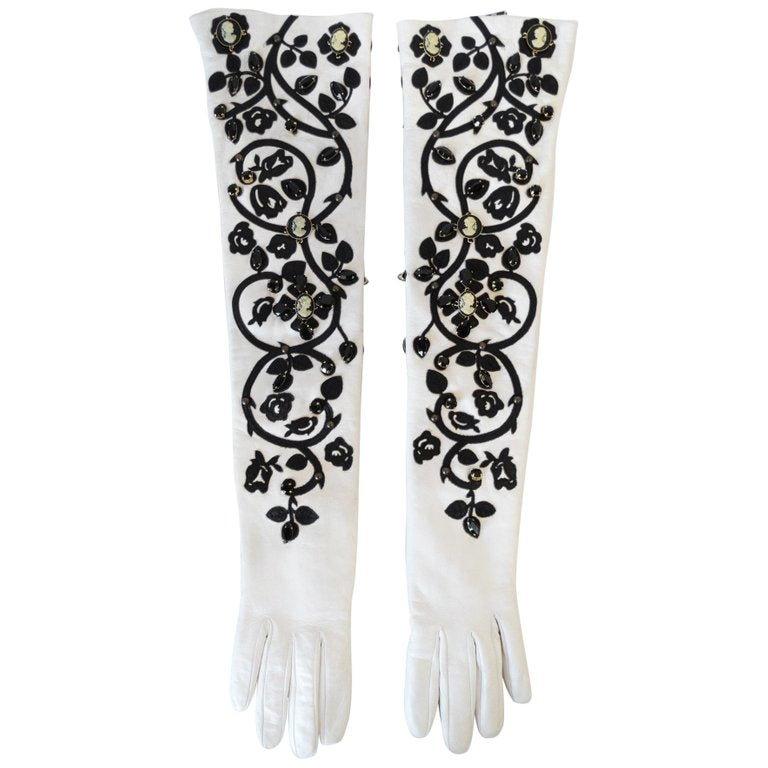 2000s Dolce & Gabbana Crystal White Leather Elbow Gloves