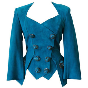 1980s Jean Claude Jitrois Embellished Teal Leather Blazer