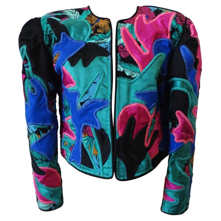 1980s Judith Roberts Tropical Abstract Appliqué Patchwork Jacket