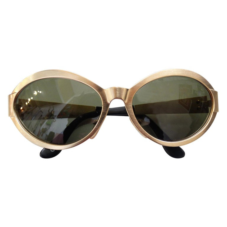 1990s Versace Matte Gold Metal Sunglasses